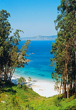 Nudist beach Islas Cies, Islas Atlanticas National Park, Vigo province, Galicia, Spain