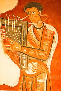 Romanesque murals in the church of Sant Joan de Boi, Stoning of St Stephen, Representation of a minstrel, Vall de Boi, Pyrenees, Lleida Province, Catalonia, Cataluna, Catalunya, Spain