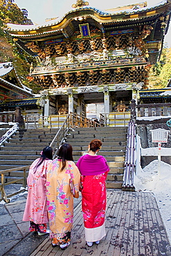 Friends in traditional dress, Toshogu temple, Nikko, Japan