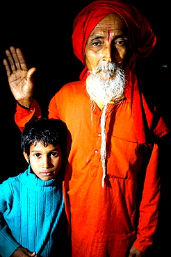 A Hindu Sadhu and a young family relative.