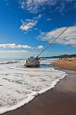 USA, California, Southern California, Santa Barbara, storm wrecked yacht, East Beach