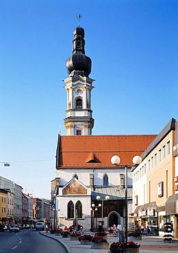 Germany, Deggendorf, Danube, nature reserve Bavarian Forest, Lower Bavaria, Bavaria, Heilig Grab Church Saint Peter and Paul, Gothic, baroque tower