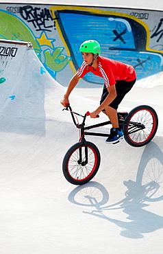 Boy with BMX Bike in Skate park, Irun, Gipuzkoa, Euskadi, Spain
