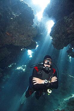 Diver in underwater cave