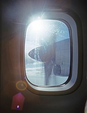 Aeroplane propeller, Aeroplane propeller seen trough window