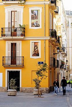 'Trompe l'oeil' paintings on facades in St, Nicholas' Square, Valencia, Comunidad Valenciana, Spain