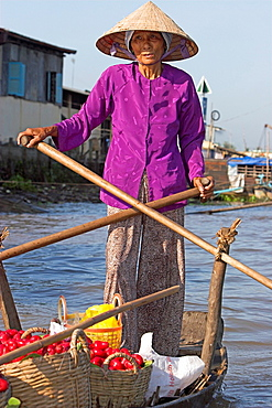 Woman in conical hat rows boat with baskets of wax apples Cai Ran floating market near Can Tho Vietnam