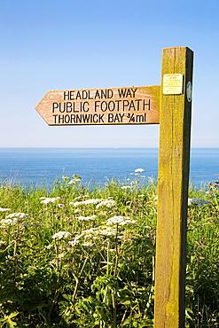 Headland Way Signpost North Landing Flamborough Head East Riding of Yorkshire England