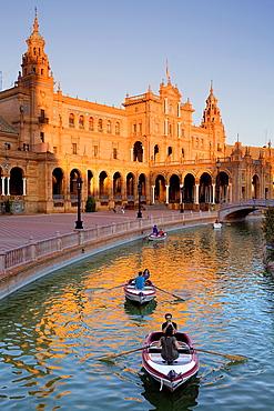 boats in Plaza de Espana, Maria Luisa Park, Sevilla, Andalucia, Spain