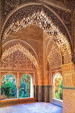 Daraxa or Lindaraja viewpoint, mirador de Daraxa o Lindaraja, in Ajimeces hall, Palace of the Lions, Nazaries palaces, Alhambra, Granada Andalusia, Spain