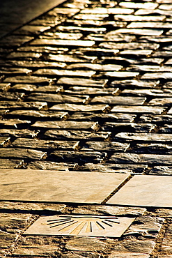 Camino de Santiago signaling in Parliament Square, along the walls of Revellin, Logrono, La Rioja, Spain