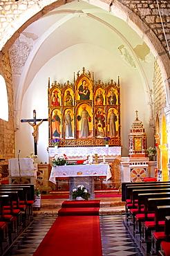 Church of the Santa Eufemia monastery in Kampor Late Baroque style polyptych by Venetian artist Antonio and Bartolomeo Vivarini 1458 Rab Island, Croatia