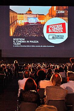 Italy, Bologna, Piazza Maggiore during the 'Cinema in Piazza', an annual movies season (June-July)