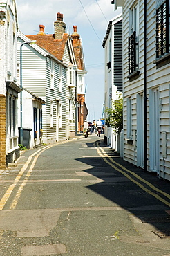 Europe, England, Kent - A street of weatherboarded buildings in Whitstable