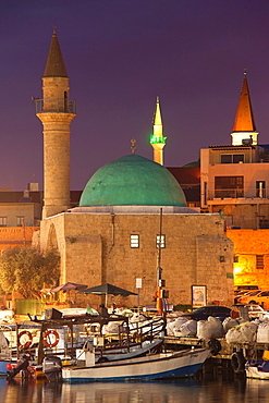 Israel, North Coast, Akko-Acre, ancient city, waterfront, Sinan Pasha Mosque, evening
