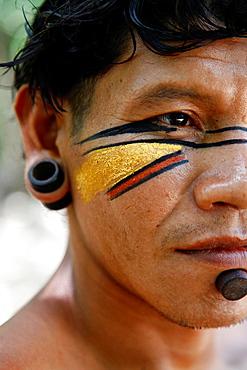Portrait of a Pataxo Indian man at the Reserva Indigena da Jaqueira near Porto Seguro, Bahia, Brazil