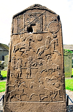 Celtic Pictish Christian cross slab Aberlemno churchyard, Tayside, Scotland Pictish symbols and a battle scene Reverse side