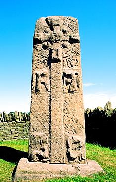 Celtic Pictish mediaeval Christian cross slab by the roadside near village of Aberlemno, Tayside, Scotland