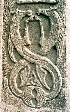 Panel on front of Celtic Pictish mediaeval Christian cross slab, Aberlemno churchyard, Tayside Scotland Seahorse motif