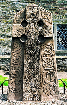 Celtic Pictish Christian cross slab in Aberlemno churchyard, Tayside, Scotland Intricate knotwork and animal motifs