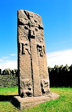 Celtic Pictish mediaeval Christian cross slab symbol stone by the roadside near village of Aberlemno, Tayside, Scotland
