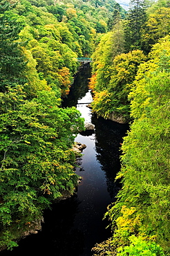 North up the River Garry as it flows through the Pass of Killiecrankie in the Scottish Highlands Jacobite Rebellion battle site