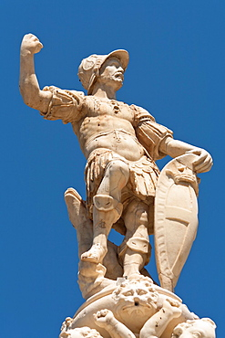 Statue on the top of Orion Fountain, Piazza Del Duomo, Messina, Sicily, Italy