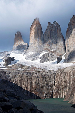 Towers of Paine and the tarn at their feet from the viewpoint, Patagonia, Torres del Paine National Park, Chile, South America