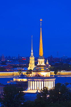 Russia, Saint Petersburg, Center, elevated view of the Peter and Paul Fortress, and the Admiralty from Saint Isaac Cathedral, evening