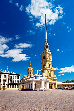 Russia, Saint Petersburg, Petrograd, Peter and Paul Fortress, Saints Peter and Paul Cathedral, final resting place for the Romanov Royal Family
