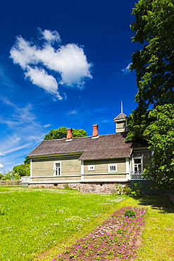 Russia, Pskovskaya Oblast, Pushkinskie Gory, estate building at Mikhailovskoye, the Alexander Pushkin Preserve, estate of famous Russian poet