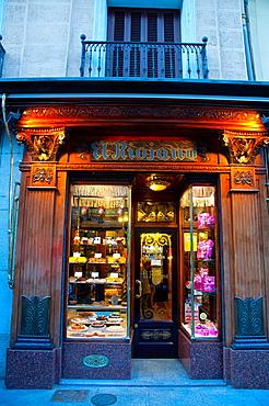 Facade of El Riojano patisserie. Mayor street, Madrid, Spain.