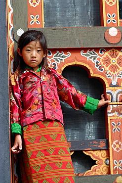 Little girl at the Tsechu festival, Thimphu, Bhutan