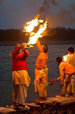 Aarti, lights ritual, at Triveni Ghat, Rishikesh, Uttarakhand, India