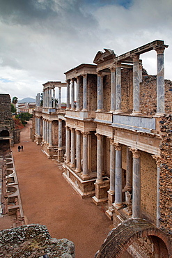 Spain, Extremadura Region, Badajoz Province, Merida, ruins of the Teatro Romano, Roman Theater, 24 BC