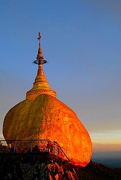 Sunset Golden Rock Pagoda Mon state Burma Myanmar