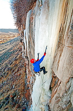 Dave Weber ice climbing a route called Jack Spratt which is rated WI-5 and located at The Mother Lode area in the Snake River Canyon near the city of Twin Falls in southern Idaho