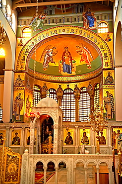 Reconstucted Byzantine style frescos of the 4th century AD 3 aisled Roamnesque basilica of Saint Demetrius, or Hagios Demetrios,  µt, a Palaeochristian and Byzantine Monuments of Thessaloniki, Greece  A UNESCO World Heritage Site