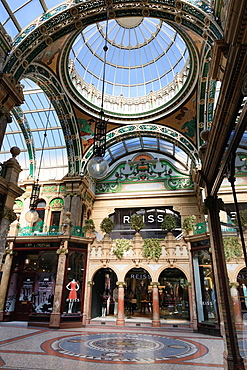 Leeds, West Yorkshire, England, UK, Great Britain, Europe  Floor mosaic and glass dome in County Arcade in the Victoria Quarter shopping centre