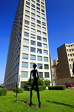 D-Dortmund, Ruhr area, Westphalia, North Rhine-Westphalia, NRW, Harenberg City Center, Harenberg Verlag, publisher, commercial tower, modern art, sculpture park, sculpture, naked girl