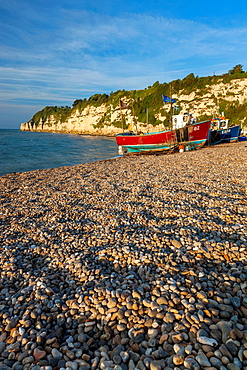 Beach in Beer, Lyme Bay, Jurassic Coast part of the South West Coastal Path, Devon, England, UK