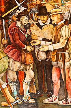 America. Mexico. Mexico DF. National Palace. Wall of the arrival of Hernan Cortes in 1519. Detail of a captain paid the royal fifth. Diego Rivera´s Work 1886-1957