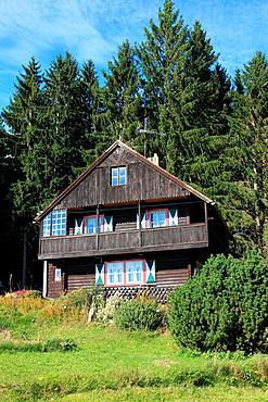 traditional old farmhouse at the village Srni, German: Rehberg, Bohemian Forest, National Park Sumava, Czech Republic, Europe
