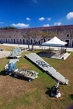 Cuba, Havana, Fortaleza de San Carlos de la Cabana fortress, wreckage of US aircraft