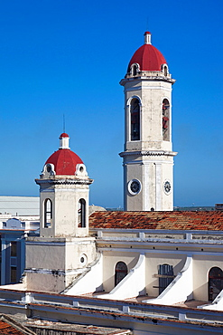 Cuba, Cienfuegos Province, Cienfuegos, Catedral de Purisima Concepcion cathedral, elevated view