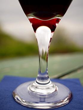 Red wine ina glass in Suomenlinna, Finland