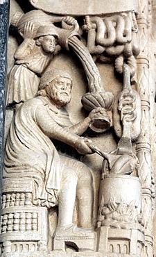 Romanesque portal by master sculptor Radovan 1240s, cathedral of St  Lawrence, Trogir, Dalmatia, Croatia