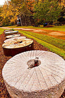 Mill stones at Haygood Mill, a working gristmill near Pickens, South Carolina