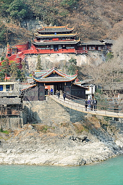 China, Sichuan, Luding, Luding bridge over Dadu river  The bridge dates from the Qing Dynasty and is considered a historical landmark  Is was captured during the Long March in may 1935 by the Chinese Red Army fighting against the nationalist forces