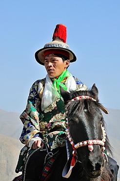 China, Gansu, Amdo, Xiahe, Monastery of Labrang Labuleng Si, Losar New Year festival, Tibetan Horse Guard